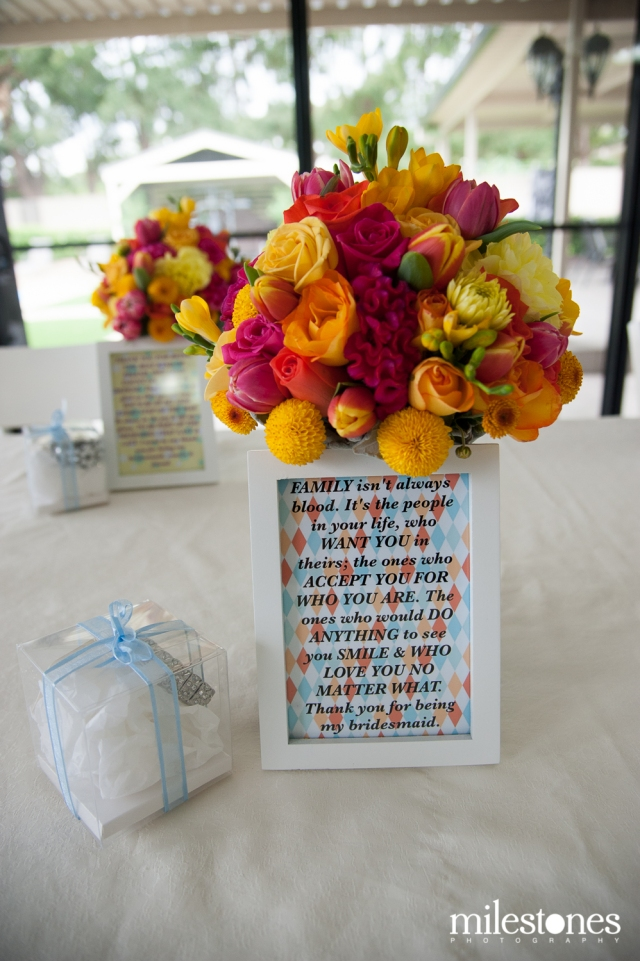 Personal message framed for bridesmaids with flowers