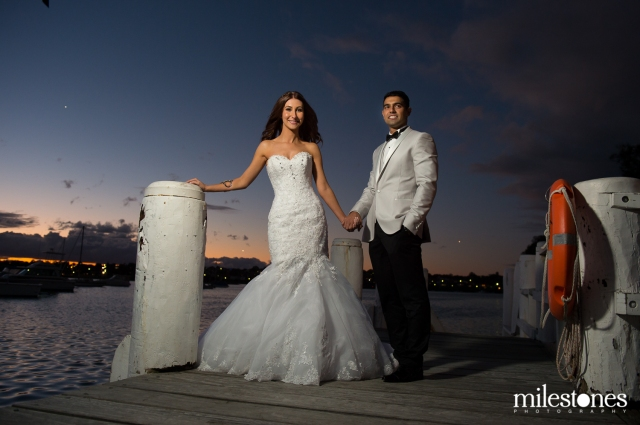 sunset photo with bride & groom at Le Montage